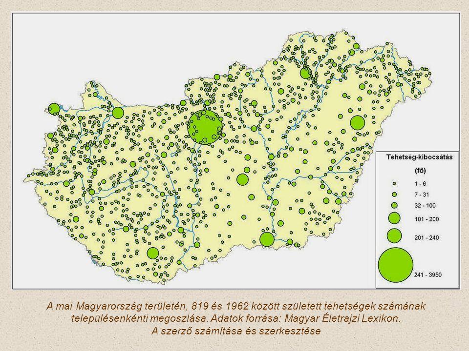 A mai Magyarország területén, 819 és 1962 között született tehetségek számának településenkénti megoszlása. Adatok forrása: Magyar Életrajzi Lexikon.