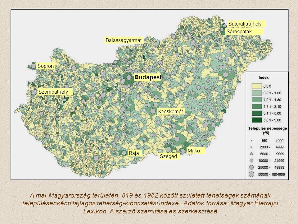 A mai Magyarország területén, 819 és 1962 között született tehetségek számának településenkénti fajlagos tehetség-kibocsátási indexe.