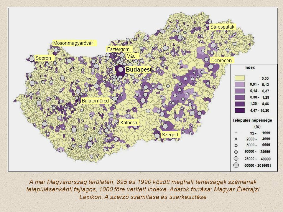 A mai Magyarország területén, 895 és 1990 között meghalt tehetségek számának településenkénti fajlagos, 1000 főre vetített indexe.