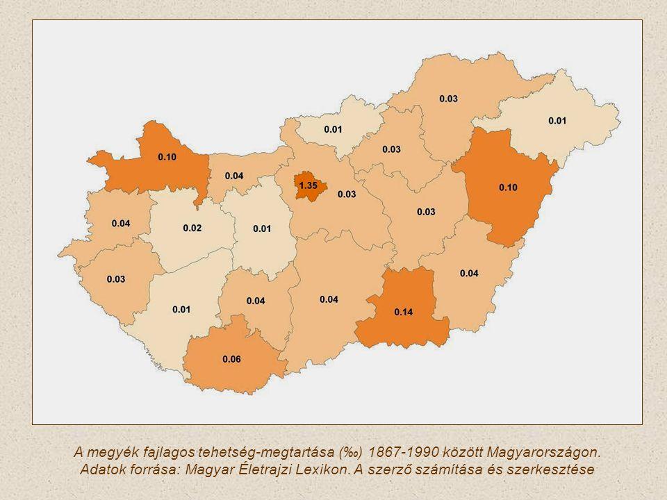 A megyék fajlagos tehetség-megtartása (‰) 1867-1990 között Magyarországon.