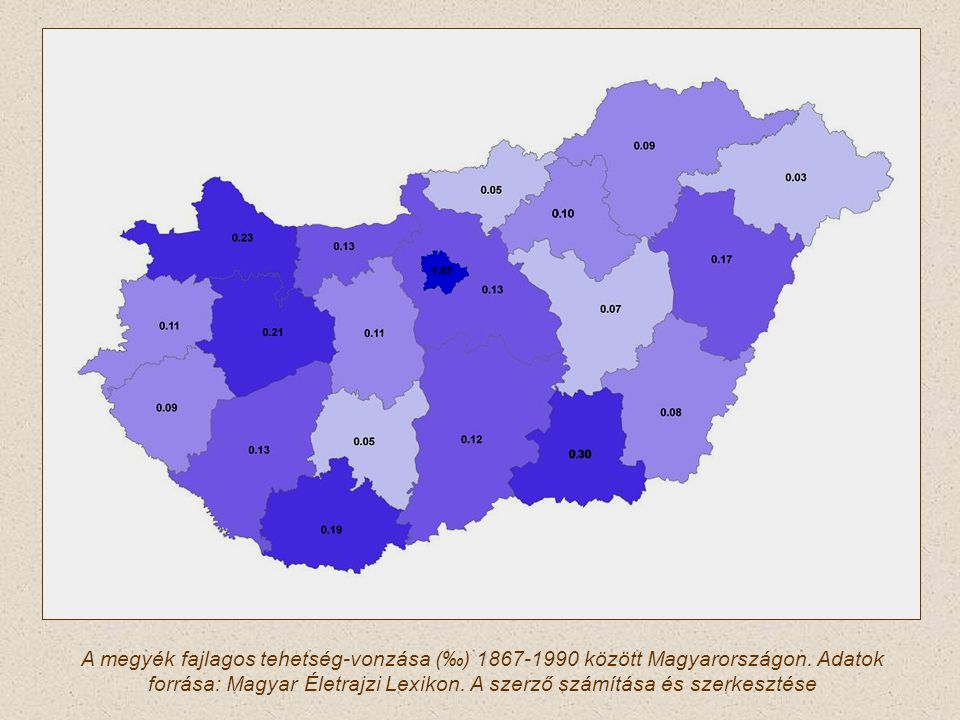 A megyék fajlagos tehetség-vonzása (‰) 1867-1990 között Magyarországon. Adatok forrása: Magyar Életrajzi Lexikon. A szerző számítása és szerkesztése