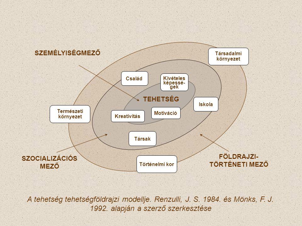 Kreativitás Motiváció Kivételes képessé- gek Iskola Társak Család Történelmi kor FÖLDRAJZI- TÖRTÉNETI MEZŐ SZOCIALIZÁCIÓS MEZŐ SZEMÉLYISÉGMEZŐ Természeti környezet Társadalmi környezet A tehetség tehetségföldrajzi modellje.