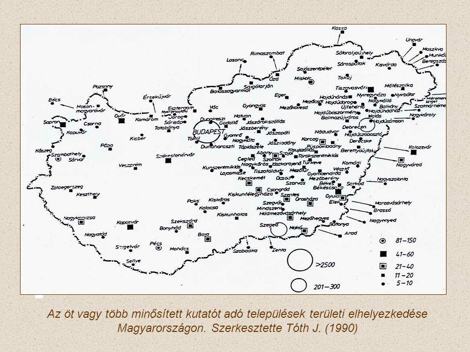 Az öt vagy több minősített kutatót adó települések területi elhelyezkedése Magyarországon.