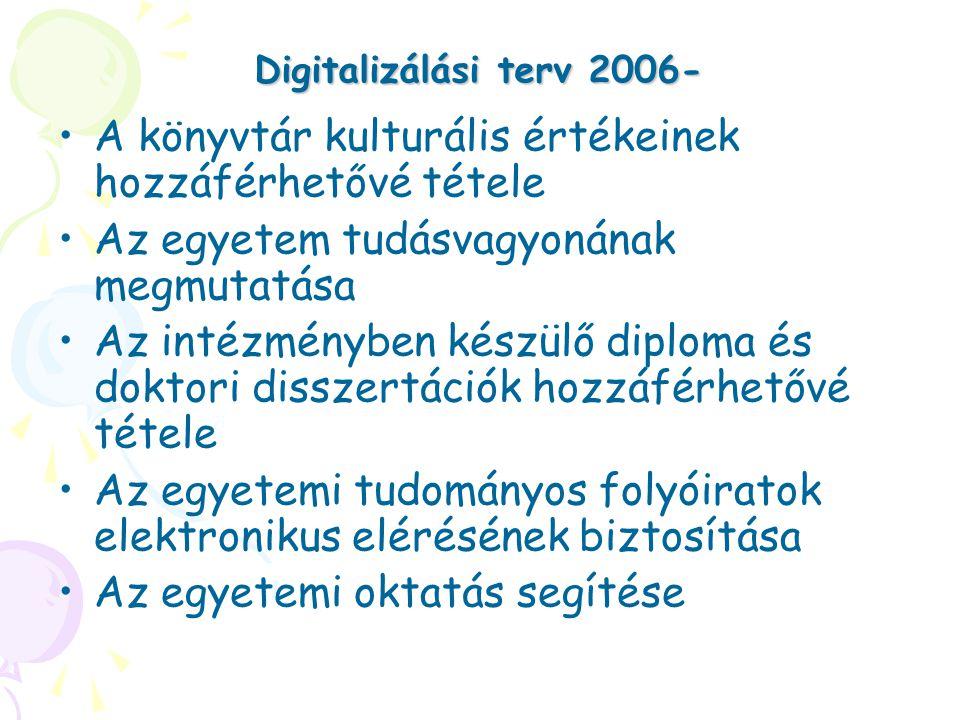 Digitalizálási terv 2006- A könyvtár kulturális értékeinek hozzáférhetővé tétele Az egyetem tudásvagyonának megmutatása Az intézményben készülő diploma és doktori disszertációk hozzáférhetővé tétele Az egyetemi tudományos folyóiratok elektronikus elérésének biztosítása Az egyetemi oktatás segítése