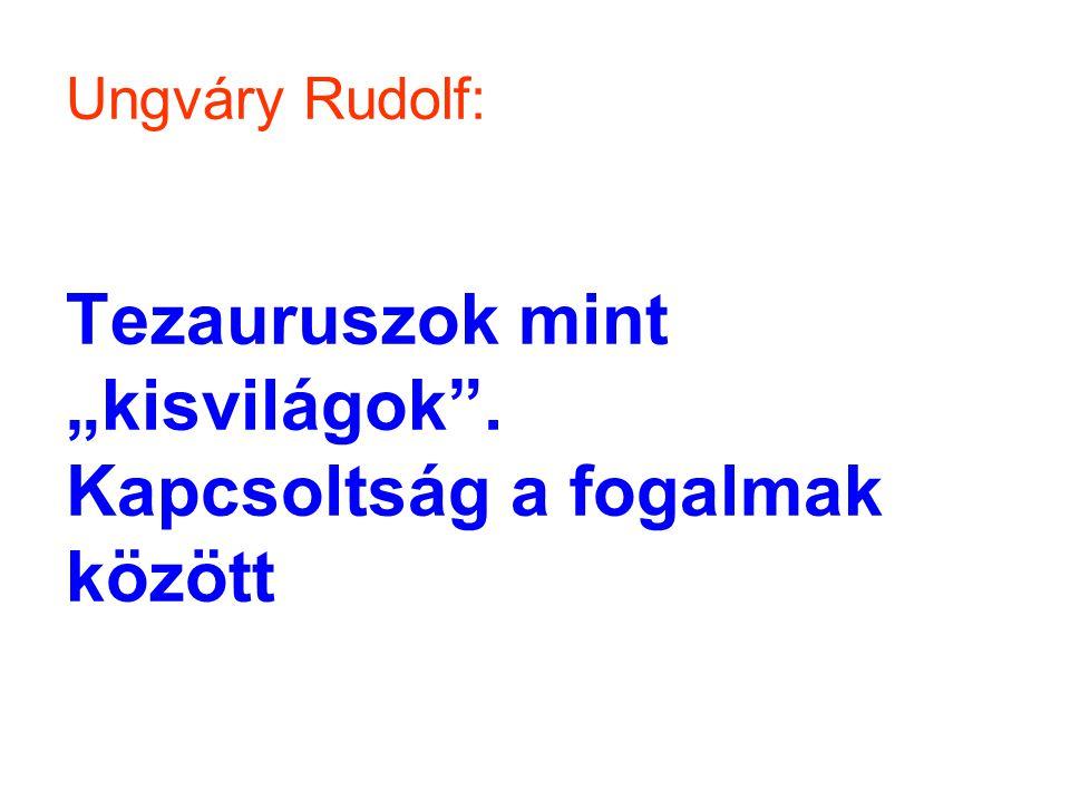 """Ungváry Rudolf: Tezauruszok mint """"kisvilágok"""". Kapcsoltság a fogalmak között"""