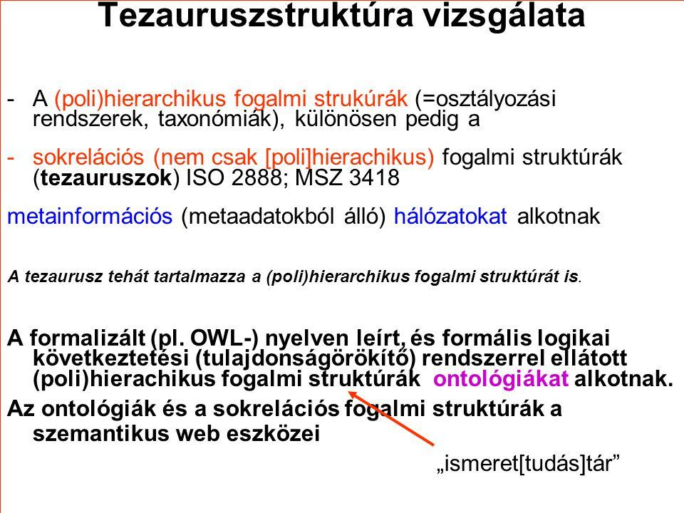 Tezauruszstruktúra vizsgálata -A (poli)hierarchikus fogalmi strukúrák (=osztályozási rendszerek, taxonómiák), különösen pedig a -sokrelációs (nem csak