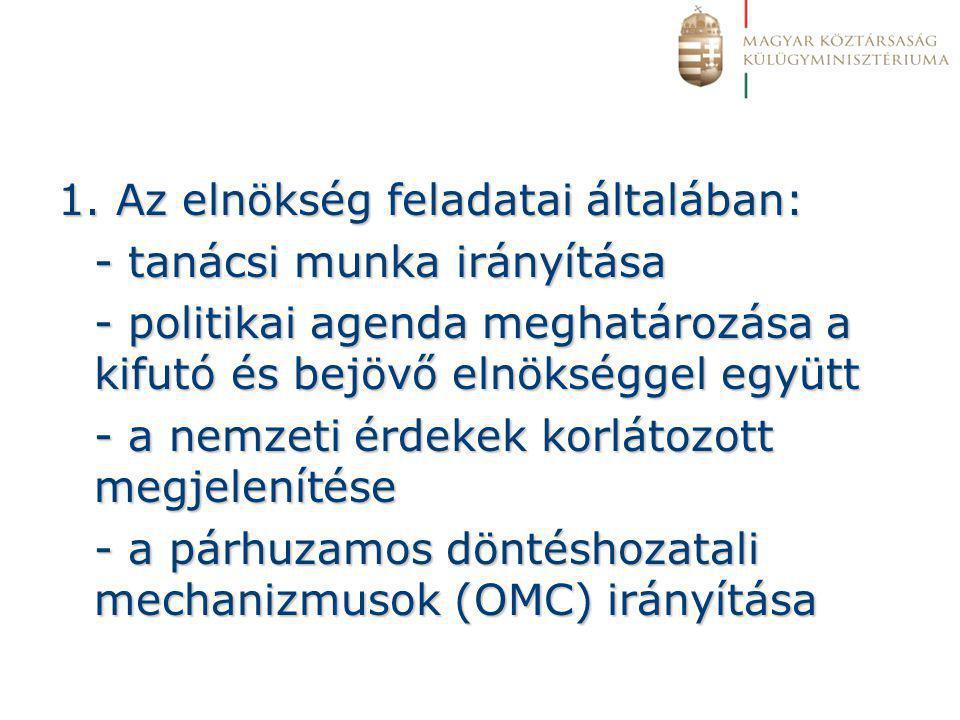 1. Az elnökség feladatai általában: - tanácsi munka irányítása - politikai agenda meghatározása a kifutó és bejövő elnökséggel együtt - a nemzeti érde