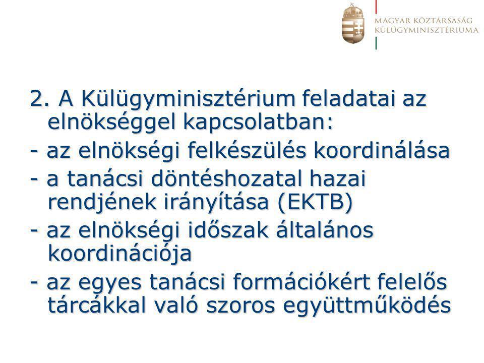 2. A Külügyminisztérium feladatai az elnökséggel kapcsolatban: - az elnökségi felkészülés koordinálása - a tanácsi döntéshozatal hazai rendjének irány