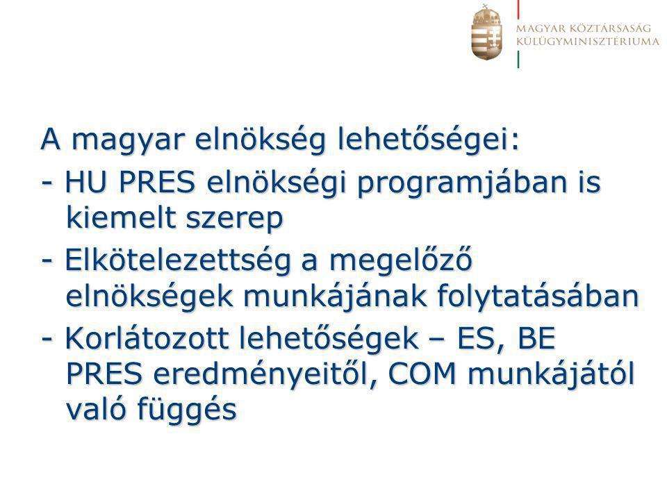 A magyar elnökség lehetőségei: - HU PRES elnökségi programjában is kiemelt szerep - Elkötelezettség a megelőző elnökségek munkájának folytatásában - Korlátozott lehetőségek – ES, BE PRES eredményeitől, COM munkájától való függés
