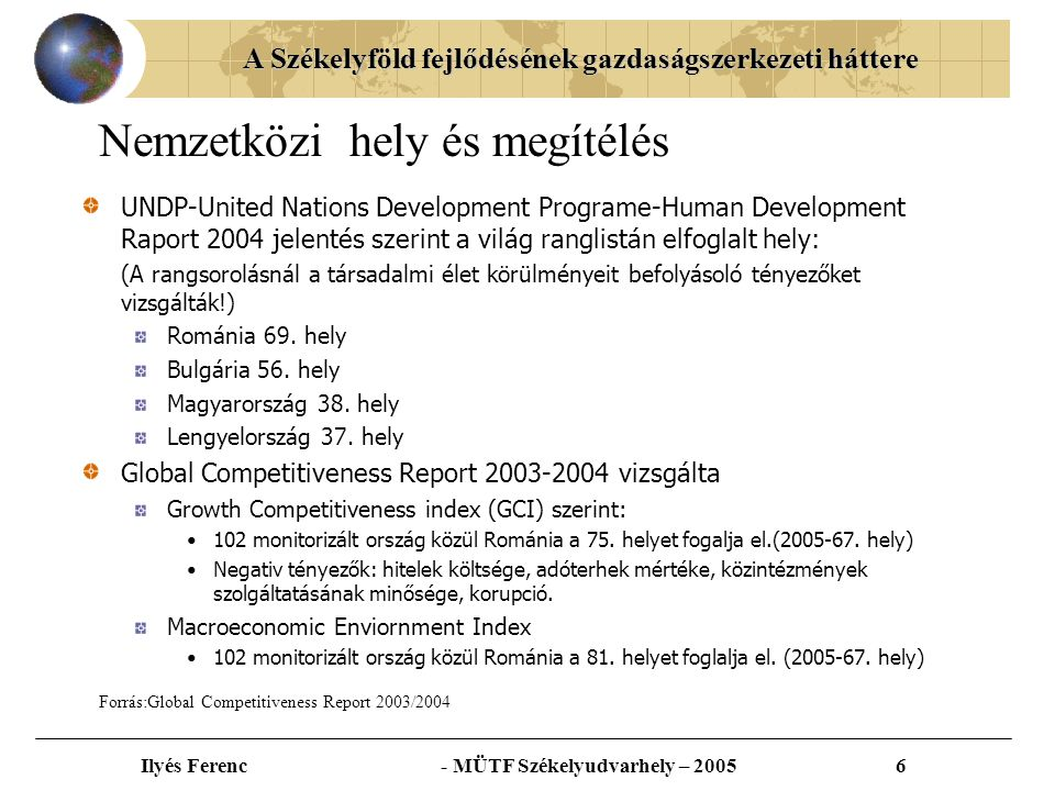 A Székelyföld fejlődésének gazdaságszerkezeti háttere Ilyés Ferenc - MÜTF Székelyudvarhely – 20057 Románia makroregionális térképe 1-Észak-keleti makrorégió-NE 2-Dél-keleti makrorégió-SE 3-Dél makrorégió-S 4-Dél-nyugati makrorégió-SV 5-Nyugati makrorégió-V 6-Észak-nyugati makrorégió-NV 7-Közép makrorégió-C 8- Bukaresti-Ilfov makrorégió-B-I Létrehozva a 151/1998-as törvény alapján