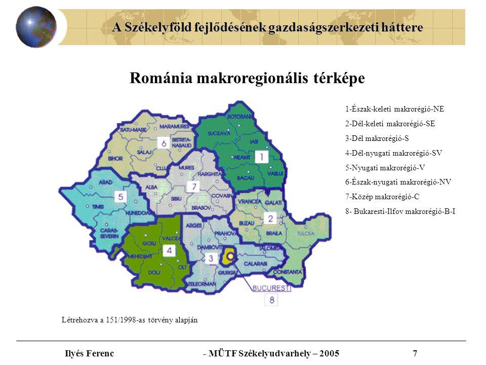 """A Székelyföld fejlődésének gazdaságszerkezeti háttere Ilyés Ferenc - MÜTF Székelyudvarhely – 200518 A 1991 és 2002 között befektetett külföldi tőke regionális eloszlása Forrás: INS – """"SMEs Role and Potential for the Economic Development and Stability of Romania"""