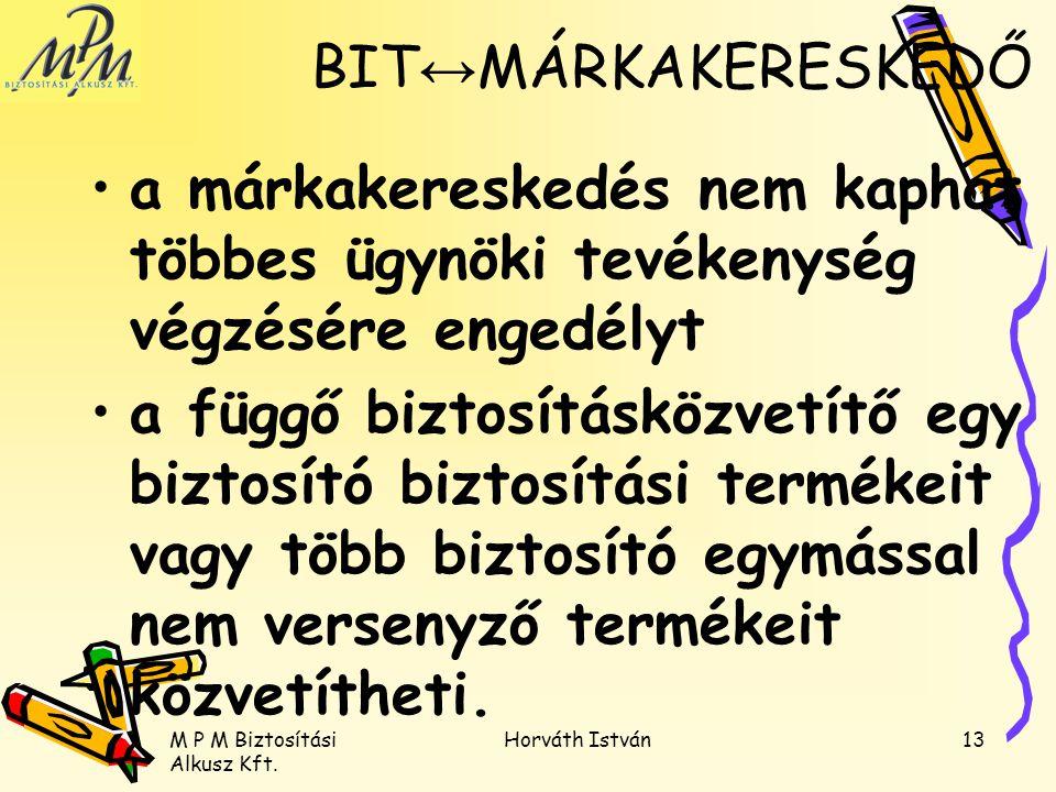 M P M Biztosítási Alkusz Kft. Horváth István13 a márkakereskedés nem kaphat többes ügynöki tevékenység végzésére engedélyt a függő biztosításközvetítő
