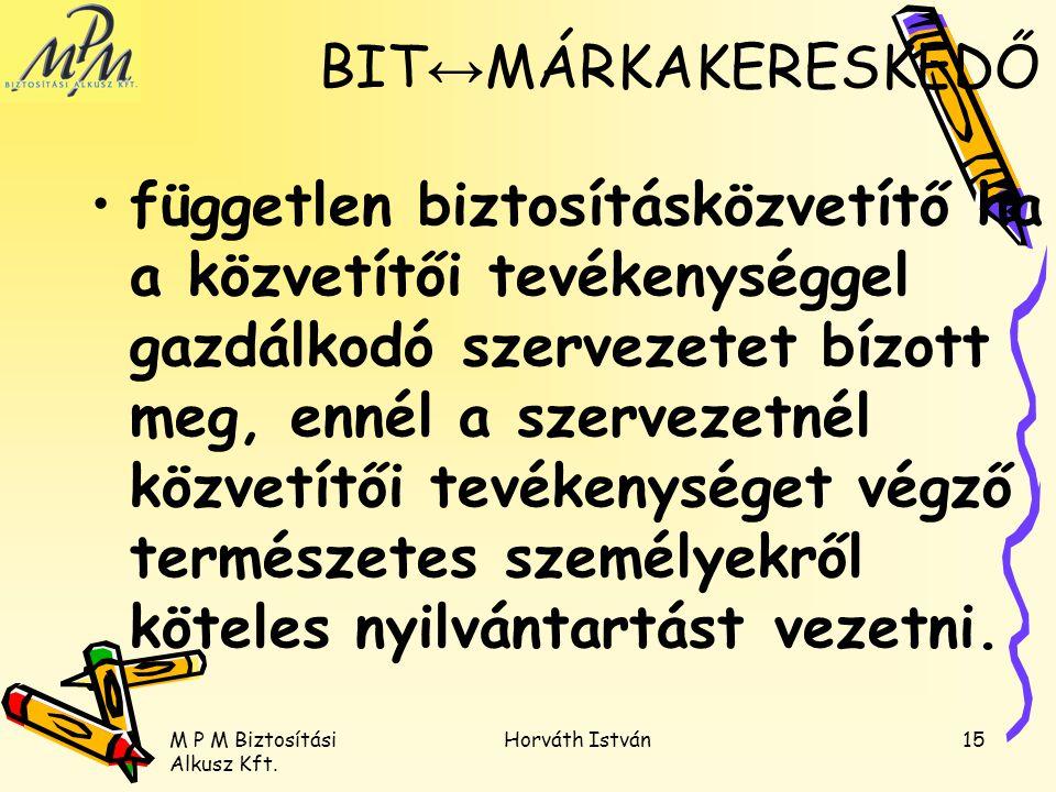M P M Biztosítási Alkusz Kft. Horváth István15 független biztosításközvetítő ha a közvetítői tevékenységgel gazdálkodó szervezetet bízott meg, ennél a