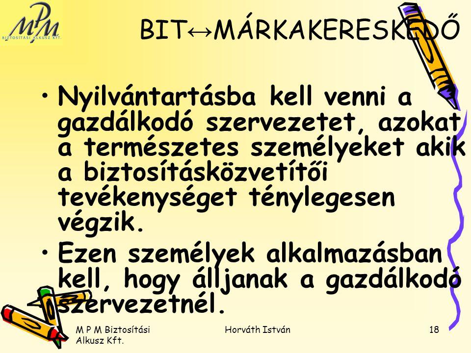M P M Biztosítási Alkusz Kft. Horváth István18 Nyilvántartásba kell venni a gazdálkodó szervezetet, azokat a természetes személyeket akik a biztosítás