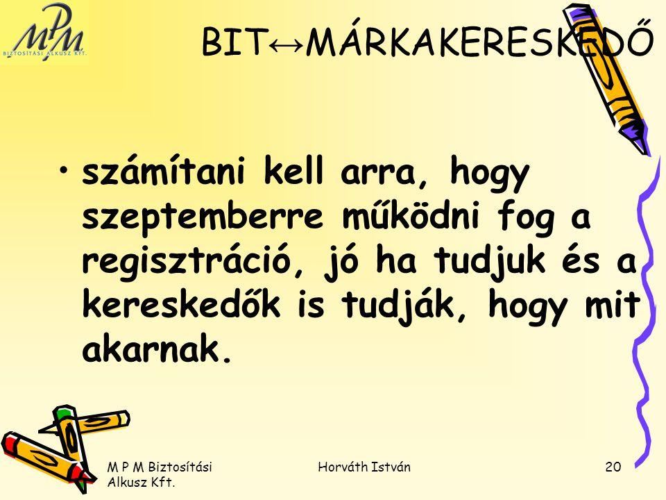 M P M Biztosítási Alkusz Kft. Horváth István20 számítani kell arra, hogy szeptemberre működni fog a regisztráció, jó ha tudjuk és a kereskedők is tudj