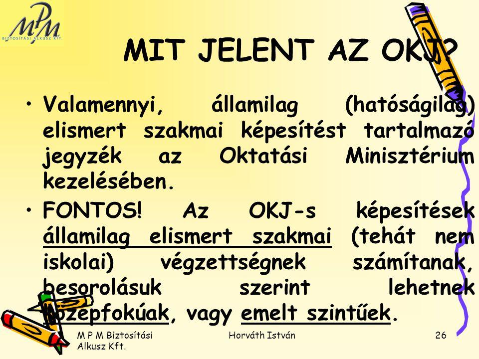 M P M Biztosítási Alkusz Kft. Horváth István26 Valamennyi, államilag (hatóságilag) elismert szakmai képesítést tartalmazó jegyzék az Oktatási Miniszté