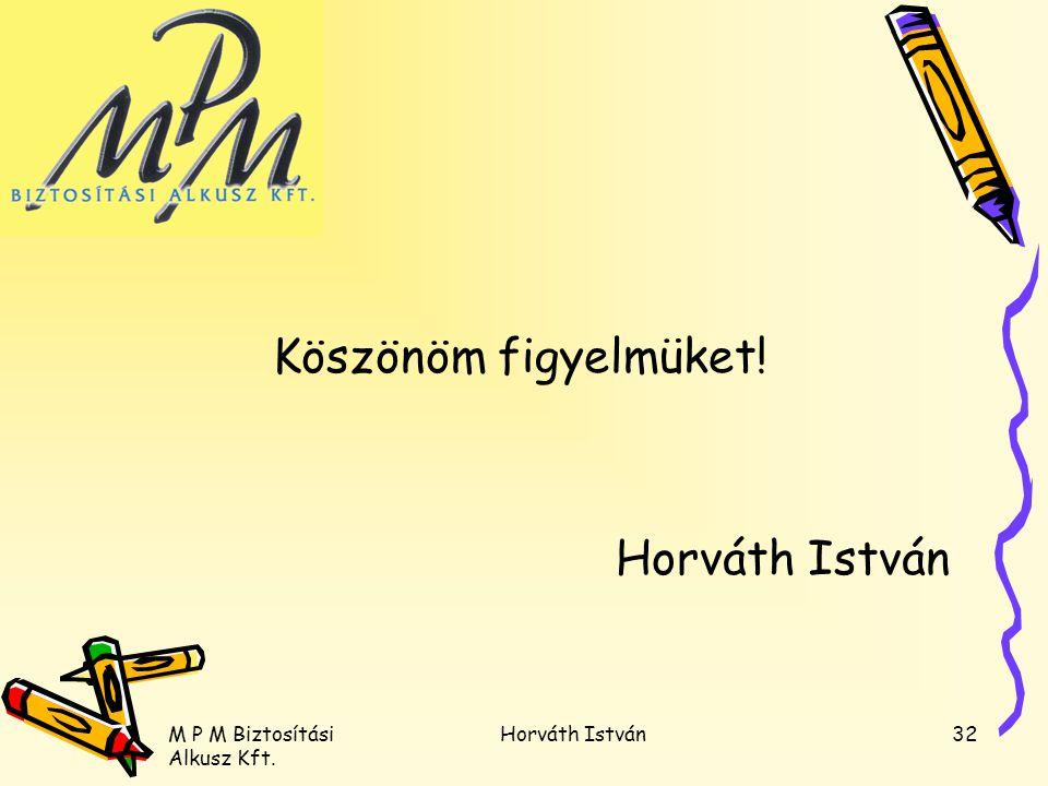M P M Biztosítási Alkusz Kft. Horváth István32 Köszönöm figyelmüket! Horváth István