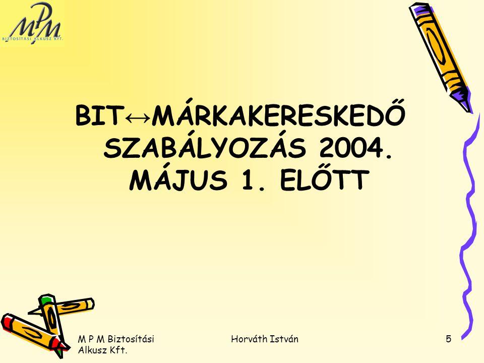 M P M Biztosítási Alkusz Kft. Horváth István5 BIT ↔ MÁRKAKERESKEDŐ SZABÁLYOZÁS 2004. MÁJUS 1. ELŐTT