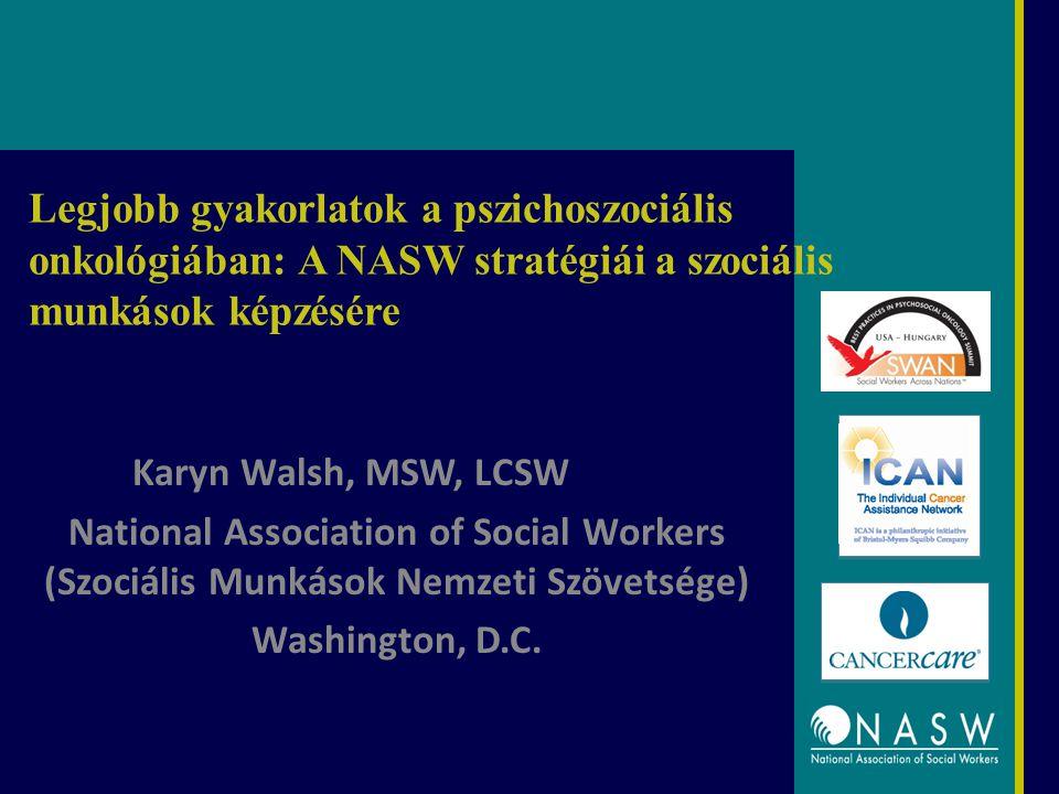 Legjobb gyakorlatok a pszichoszociális onkológiában: A NASW stratégiái a szociális munkások képzésére Karyn Walsh, MSW, LCSW National Association of Social Workers (Szociális Munkások Nemzeti Szövetsége) Washington, D.C.