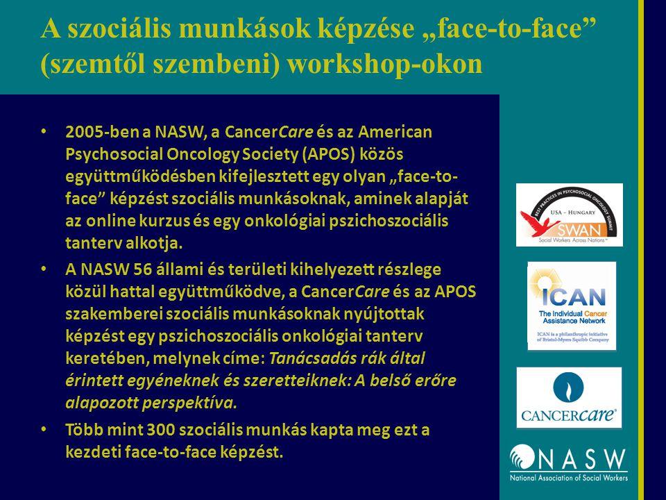 """A szociális munkások képzése """"face-to-face (szemtől szembeni) workshop-okon 2005-ben a NASW, a CancerCare és az American Psychosocial Oncology Society (APOS) közös együttműködésben kifejlesztett egy olyan """"face-to- face képzést szociális munkásoknak, aminek alapját az online kurzus és egy onkológiai pszichoszociális tanterv alkotja."""