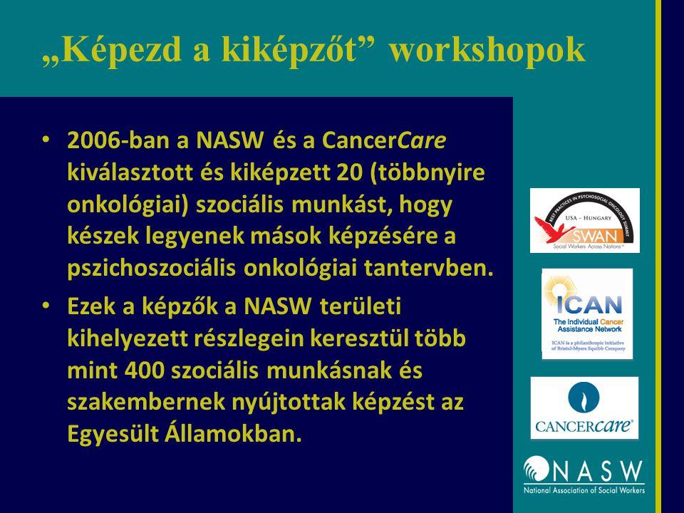 """""""Képezd a kiképzőt workshopok 2006-ban a NASW és a CancerCare kiválasztott és kiképzett 20 (többnyire onkológiai) szociális munkást, hogy készek legyenek mások képzésére a pszichoszociális onkológiai tantervben."""