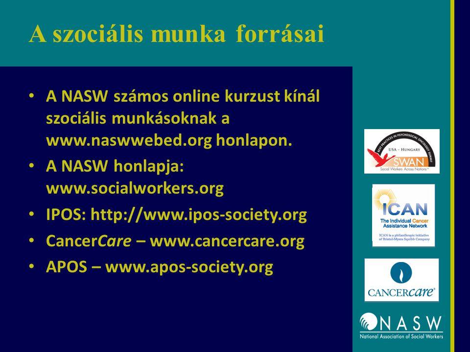 A szociális munka forrásai A NASW számos online kurzust kínál szociális munkásoknak a www.naswwebed.org honlapon. A NASW honlapja: www.socialworkers.o