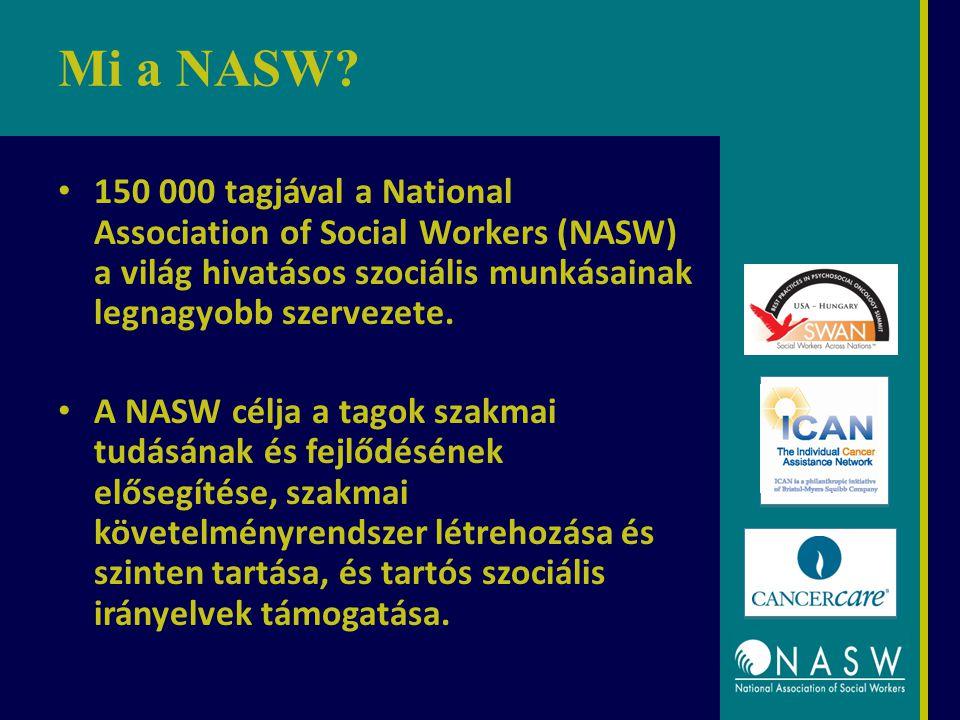 Mi a NASW? 150 000 tagjával a National Association of Social Workers (NASW) a világ hivatásos szociális munkásainak legnagyobb szervezete. A NASW célj