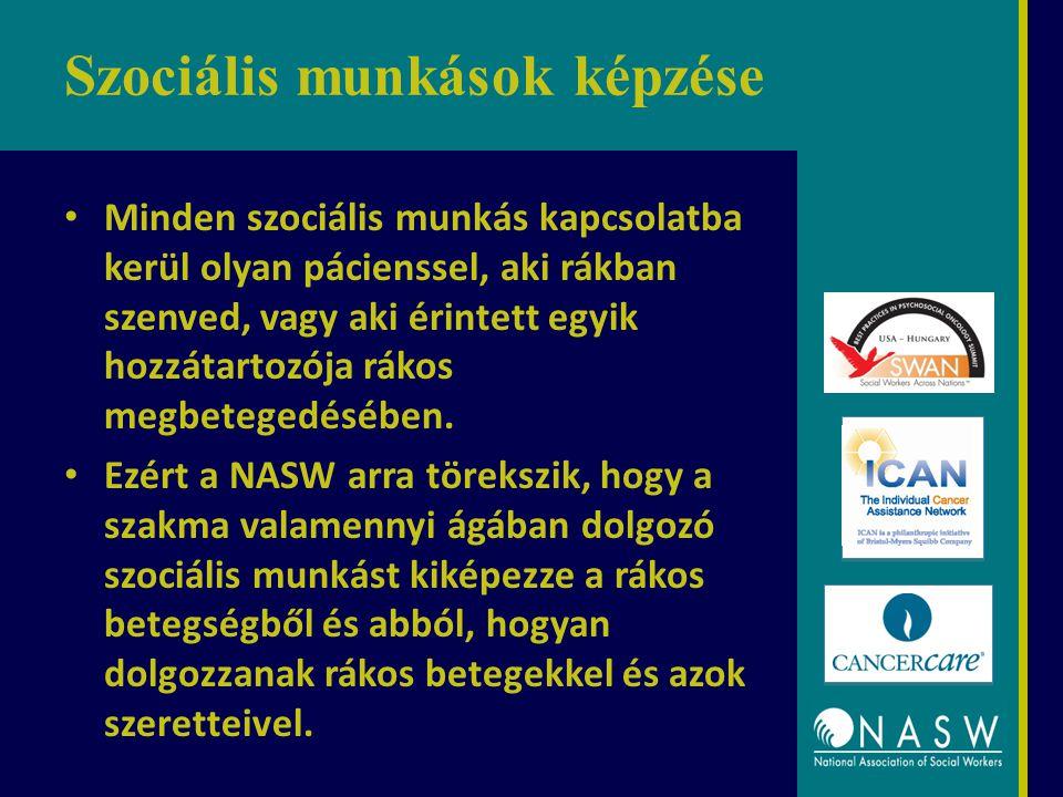 Szociális munkások képzése Minden szociális munkás kapcsolatba kerül olyan pácienssel, aki rákban szenved, vagy aki érintett egyik hozzátartozója rákos megbetegedésében.