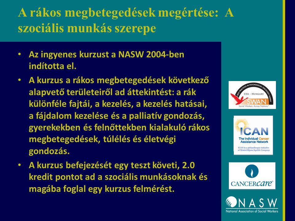 A rákos megbetegedések megértése: A szociális munkás szerepe Az ingyenes kurzust a NASW 2004-ben indította el. A kurzus a rákos megbetegedések követke