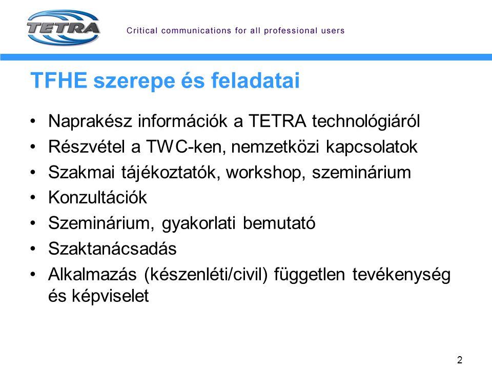2 TFHE szerepe és feladatai Naprakész információk a TETRA technológiáról Részvétel a TWC-ken, nemzetközi kapcsolatok Szakmai tájékoztatók, workshop, s