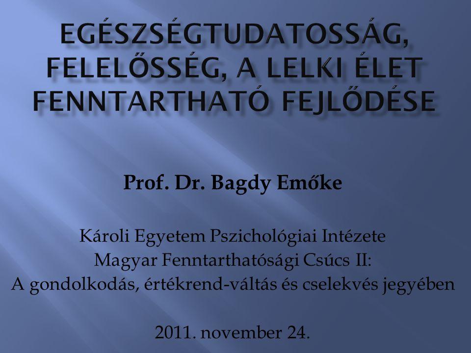 Prof. Dr. Bagdy Emőke Károli Egyetem Pszichológiai Intézete Magyar Fenntarthatósági Csúcs II: A gondolkodás, értékrend-váltás és cselekvés jegyében 20