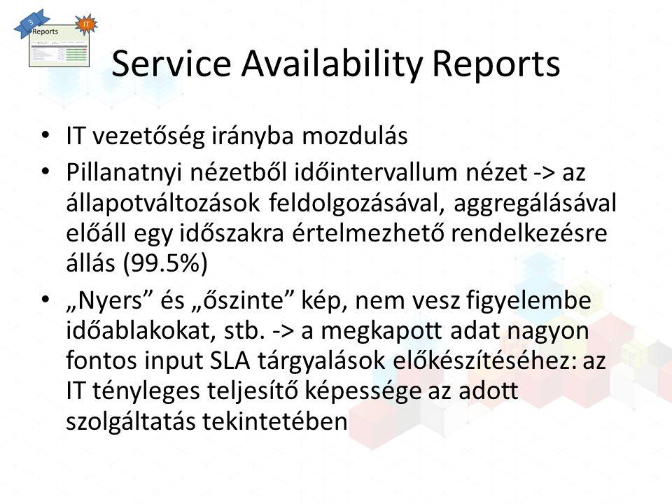 Service Availability Reports IT vezetőség irányba mozdulás Pillanatnyi nézetből időintervallum nézet -> az állapotváltozások feldolgozásával, aggregál
