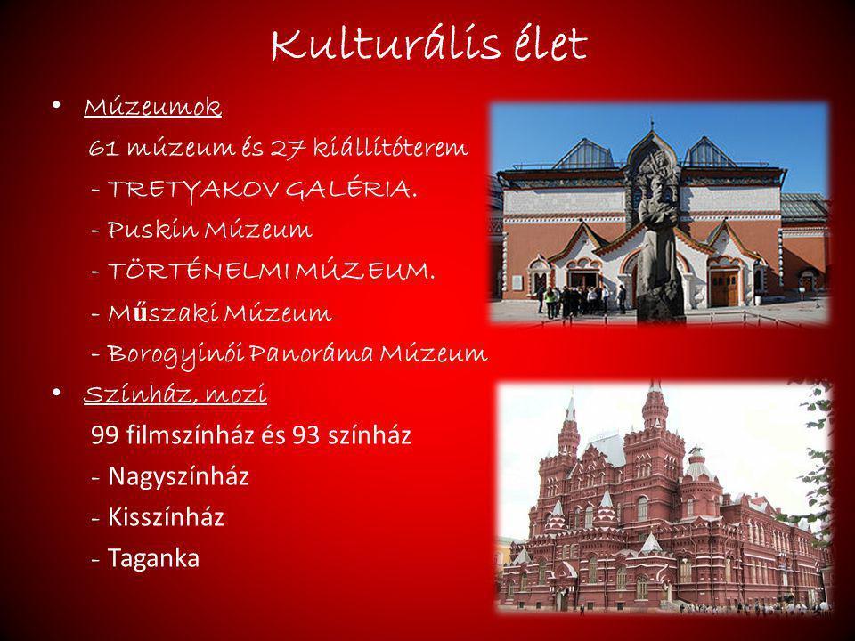 Kulturális élet Múzeumok 61 múzeum és 27 kiállítóterem - TRETYAKOV GALÉRIA. - Puskin Múzeum - TÖRTÉNELMI MÚZEUM. - M ű szaki Múzeum - Borogyinói Panor