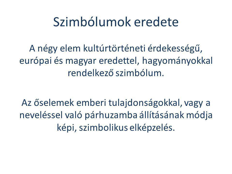 Szimbólumok eredete A négy elem kultúrtörténeti érdekességű, európai és magyar eredettel, hagyományokkal rendelkező szimbólum. Az őselemek emberi tula