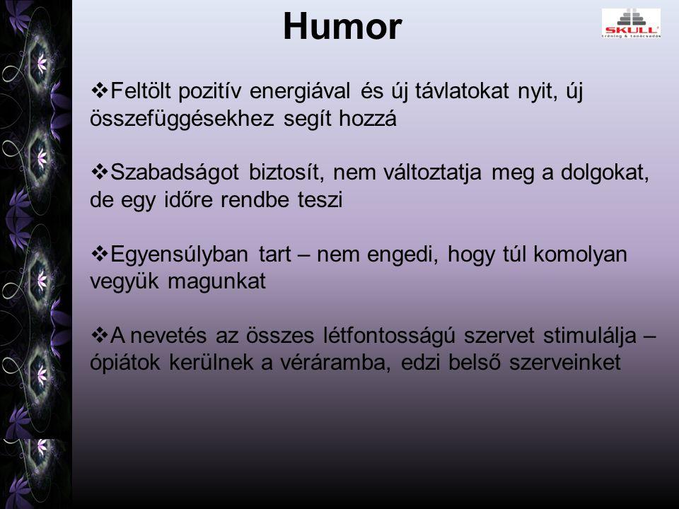 Humor  Feltölt pozitív energiával és új távlatokat nyit, új összefüggésekhez segít hozzá  Szabadságot biztosít, nem változtatja meg a dolgokat, de egy időre rendbe teszi  Egyensúlyban tart – nem engedi, hogy túl komolyan vegyük magunkat  A nevetés az összes létfontosságú szervet stimulálja – ópiátok kerülnek a véráramba, edzi belső szerveinket