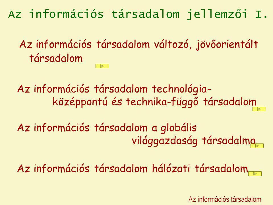 Az információs társadalom jellemzői I. Az információs társadalom változó, jövőorientált társadalom Az információs társadalom technológia- középpontú é
