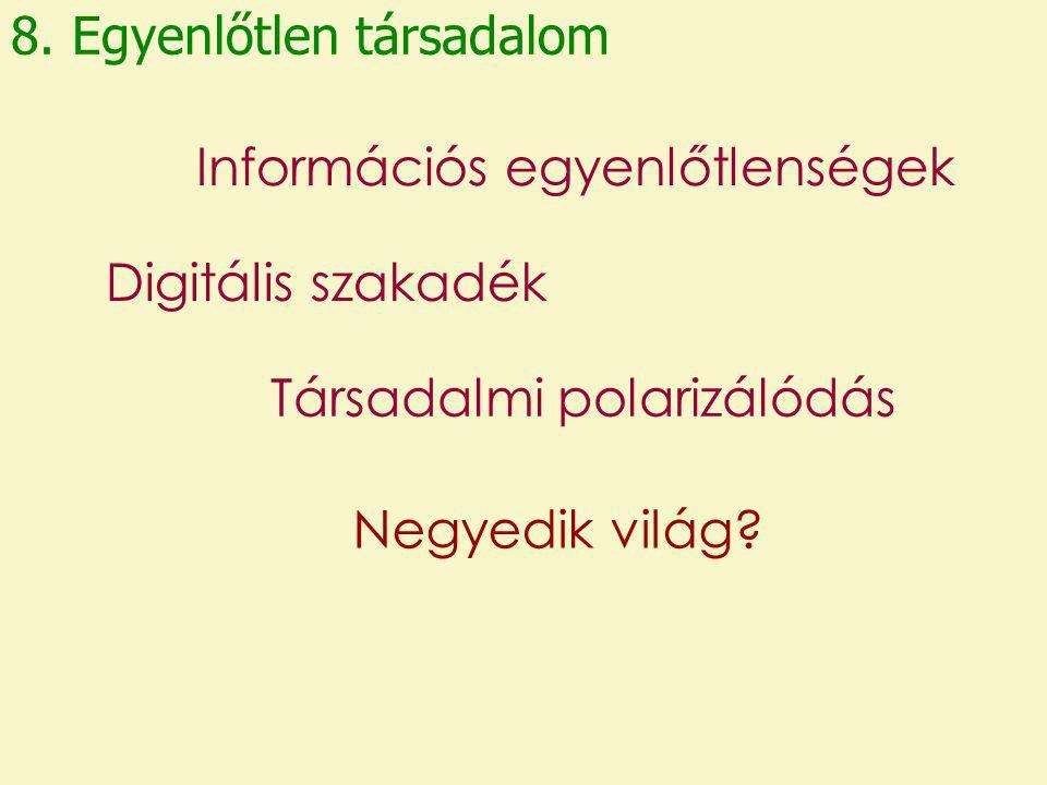 8. Egyenlőtlen társadalom Információs egyenlőtlenségek Digitális szakadék Társadalmi polarizálódás Negyedik világ?