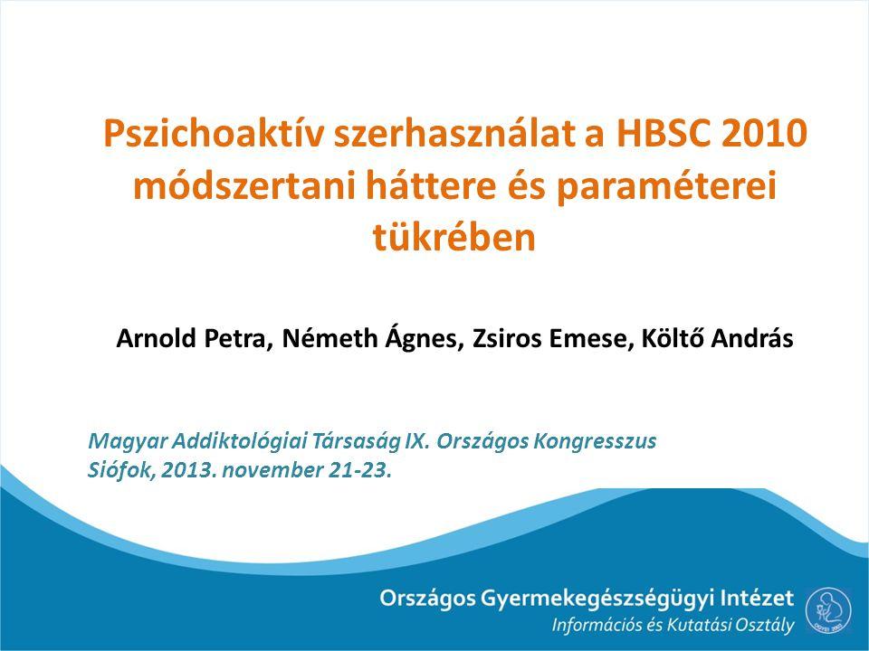 Elméleti keret Szakirodalom: Brener és mtsai (2003)* serdülőkre fókuszáló rizikómagatartással kapcsolatos kutatások (mintegy 100 kutatás) módszerének áttekintése: Kognitív és szituációs tényezők ↓ HBSC: milyen módon próbálta az érvényességet befolyásoló kockázati tényezőket kiküszöbölni (példák pszichoaktív szerhasználat) *N D.
