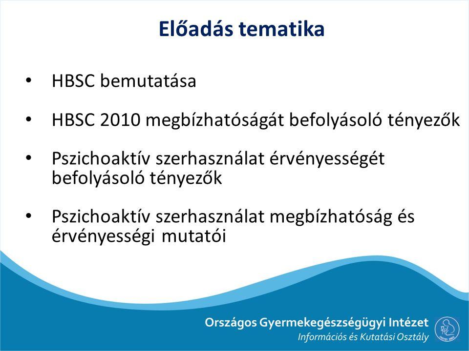 Előadás tematika HBSC bemutatása HBSC 2010 megbízhatóságát befolyásoló tényezők Pszichoaktív szerhasználat érvényességét befolyásoló tényezők Pszichoa