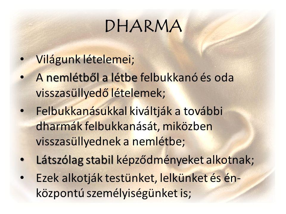 DHARMA Világunk lételemei; nemlétből a létbe A nemlétből a létbe felbukkanó és oda visszasüllyedő lételemek; Felbukkanásukkal kiváltják a további dhar