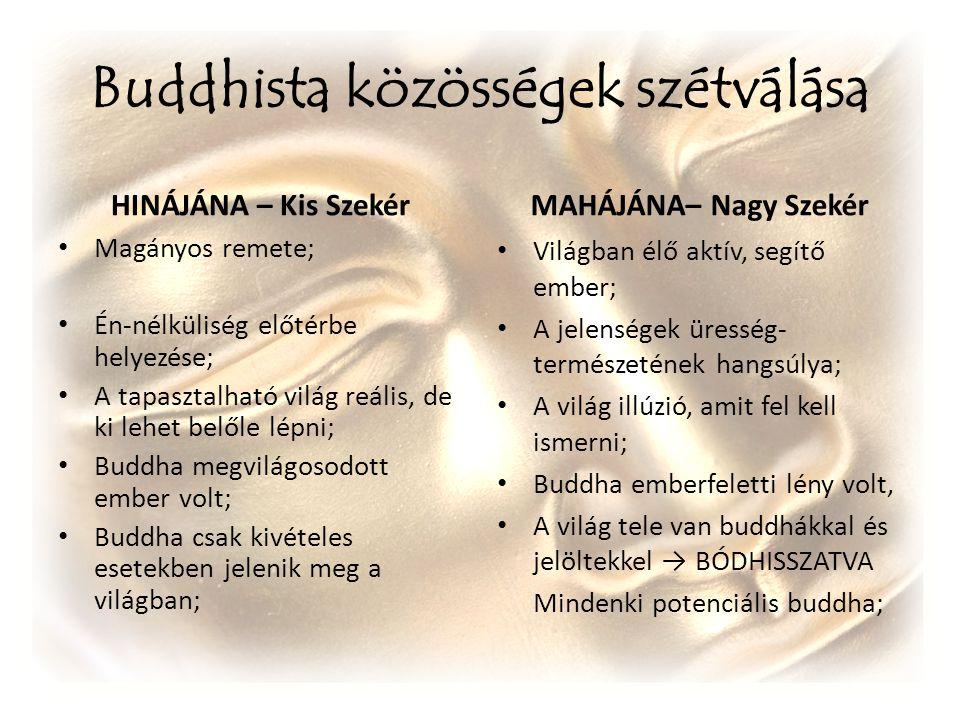 Buddhista közösségek szétválása HINÁJÁNA – Kis Szekér Magányos remete; Én-nélküliség előtérbe helyezése; A tapasztalható világ reális, de ki lehet bel
