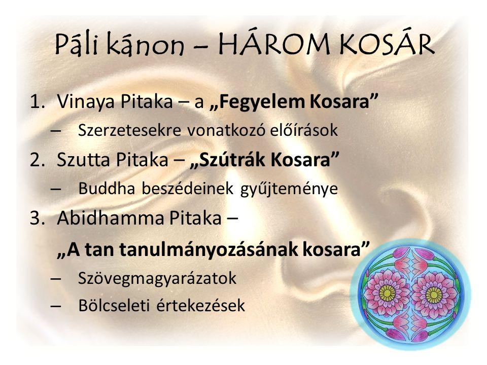 """Páli kánon – HÁROM KOSÁR 1.Vinaya Pitaka – a """"Fegyelem Kosara"""" – Szerzetesekre vonatkozó előírások 2.Szutta Pitaka – """"Szútrák Kosara"""" – Buddha beszéde"""