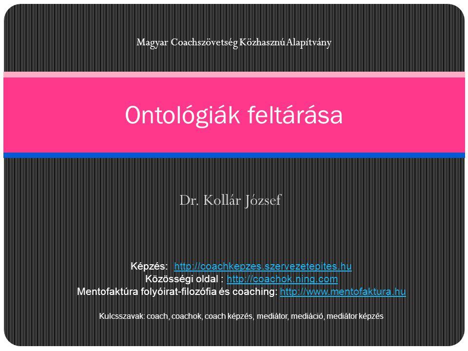 Dr. Kollár József Ontológiák feltárása Magyar Coachszövetség Közhasznú Alapítvány Képzés: http://coachkepzes.szervezetepites.huhttp://coachkepzes.szer
