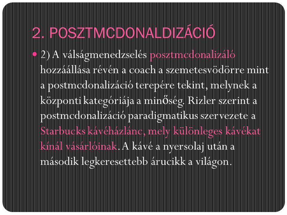 2. POSZTMCDONALDIZÁCIÓ 2) A válságmenedzselés posztmcdonalizáló hozzáállása révén a coach a szemetesvödörre mint a postmcdonalizáció terepére tekint,