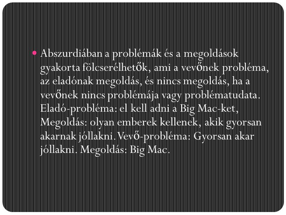 Abszurdiában a problémák és a megoldások gyakorta fölcserélhet ő k, ami a vev ő nek probléma, az eladónak megoldás, és nincs megoldás, ha a vev ő nek