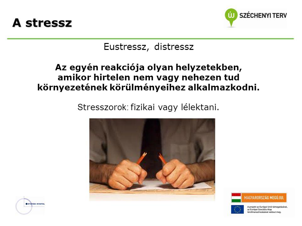 Eustressz, distressz Az egyén reakciója olyan helyzetekben, amikor hirtelen nem vagy nehezen tud környezetének körülményeihez alkalmazkodni. S tresszo