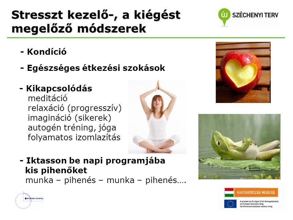 - Kondíció - Egészséges étkezési szokások - Kikapcsolódás meditáció relaxáció (progresszív) imagináció (sikerek) autogén tréning, jóga folyamatos izom