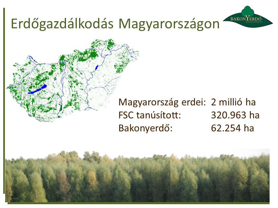 Erdőgazdálkodás Magyarországon Magyarország erdei: 2 millió ha FSC tanúsított: 320.963 ha Bakonyerdő: 62.254 ha