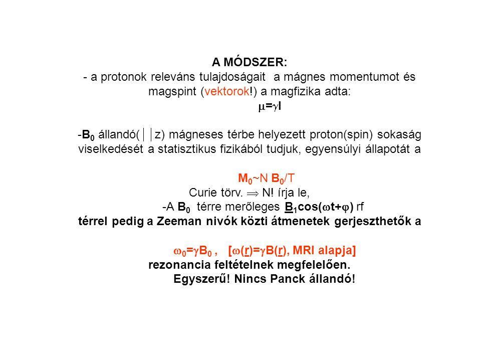 A MÓDSZER: - a protonok releváns tulajdoságait a mágnes momentumot és magspint (vektorok!) a magfizika adta:  =  I -B 0 állandó(  z) mágneses térbe helyezett proton(spin) sokaság viselkedését a statisztikus fizikából tudjuk, egyensúlyi állapotát a M 0  N B 0 /T Curie törv.