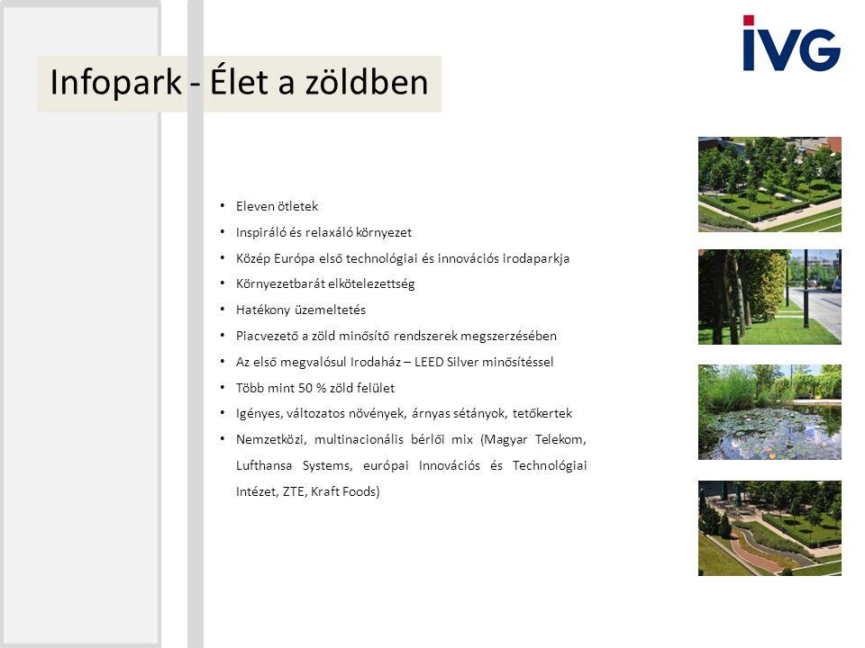 Infopark - Élet a zöldben Eleven ötletek Inspiráló és relaxáló környezet Közép Európa első technológiai és innovációs irodaparkja Környezetbarát elköt